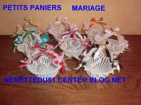 CROCHET  PETITS PANIERS  AVEC COEUR MARIAGE