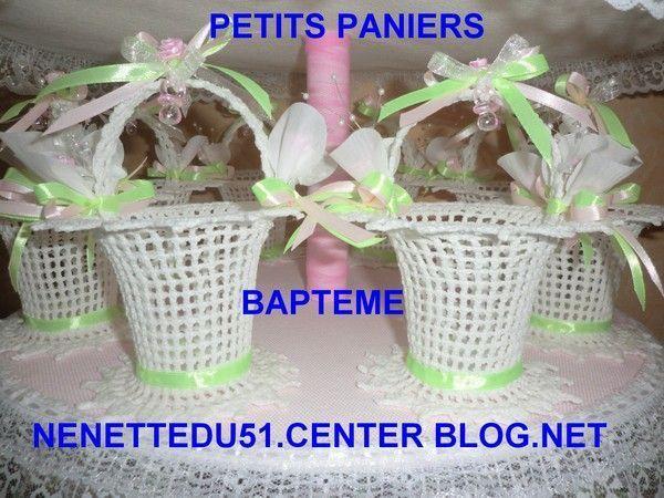 CROCHET L'ENSEMBLE DE 24 PETITS PANIERS POUR BAPTEME